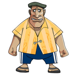 cartoon man Gopnik in a cap, shirt, pants
