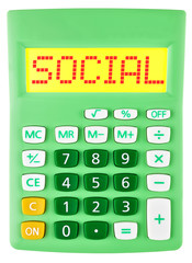 Calculator with SOCIAL on display isolated on white background