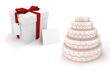 3d present box and delicious cake on white background