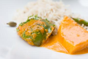 Indisches Essen mit Reis - Shahi Paneer