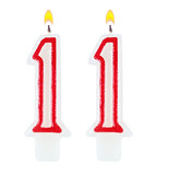 Birthday candles number eleven isolated on white background