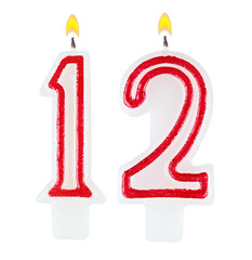 Birthday candles number twelve isolated on white background