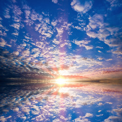 Sky with clouds with reflection