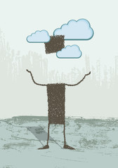 Head in the clouds. A person with his head in the clouds
