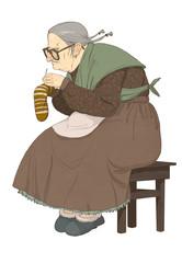 Пожилая женщина, штопающая носок.