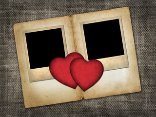 Two old-style photo  with red paper hearts