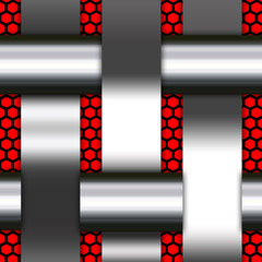 Abstract background, metallic silver  wave ,red pattern