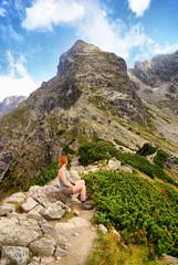 Woman in high mountains, Tatra