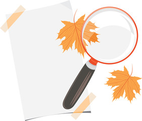 Magnifying glass, paper sheet and maple leaves