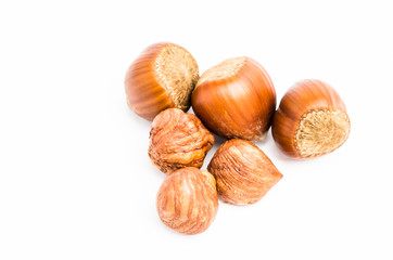 Whole and purified Hazelnuts isolated on white