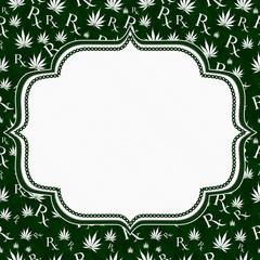 Green and White Marijuana Leaf and Prescription symbol Frame wit