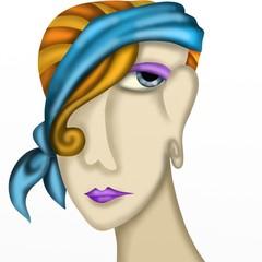 donna con fascia blu