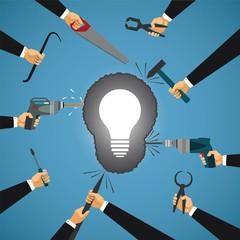 Vector concept of abstract collective idea development