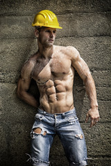 Handsome construction worker standing