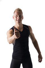 Fit male model giving a thumbs up