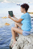 Girl with tablet computer