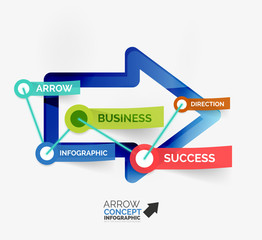 Arrow infographic flat line concept