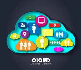 Cloud computing concept vector logo design template