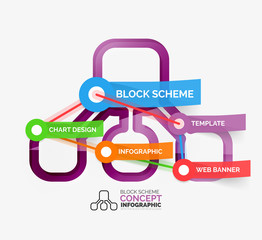 Block scheme infographic tag cloud