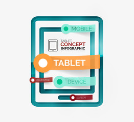 Tablet infographic scheme with tags