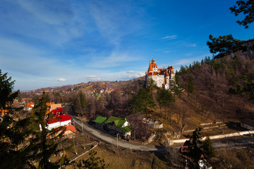 Top view of Bran Castle near village and road