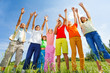 Kids with arms up stand straight in row