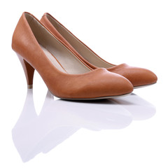 Womens brown  shoes high heels on white