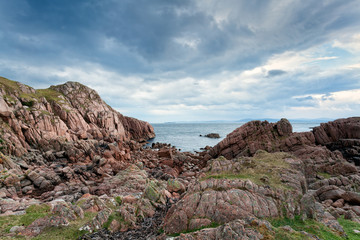 Pink granite rocks on Mull, Scotland