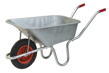 galvanised steel wheelbarrow cart isolated on white