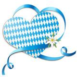 Fototapety Karte mit Schleifenherz u. Edelweiss - Volksfest