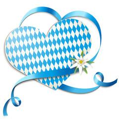 Karte mit Schleifenherz u. Edelweiss - Volksfest