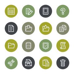 Document web icons set, color buttons