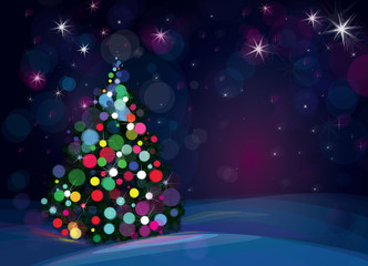 Vector Christmas tree on starry background.