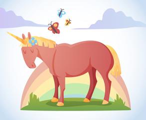 Cartoon magic unicorn