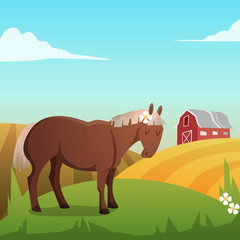 Cute vector horse, with landscape in background