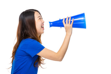 Asian young woman with loudspeaker
