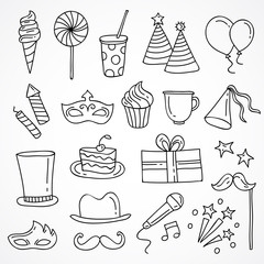 Cute hand drawn party and holiday icons