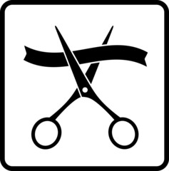 black scissors and ribbon