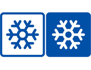 blue and white abstract snowflake signs