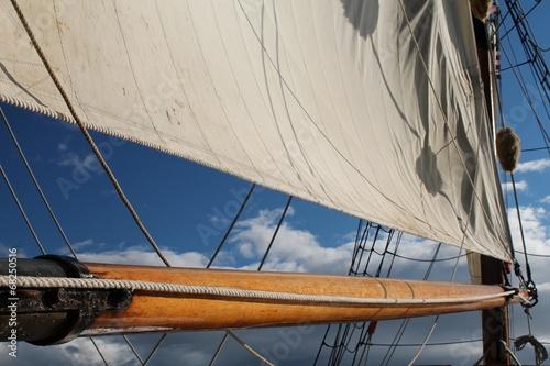 Boom and sail on a tall sailing ship
