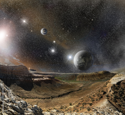 Plexiglas landscape mountains and cosmos space