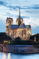Notre Dame de Paris cathedral at night