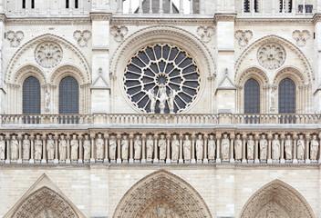 Notre Dame de Paris cathedral facade with statues
