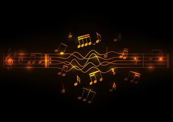 Glowing musical notes design