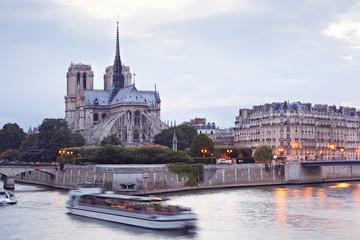 Notre Dame, Paris in the evening