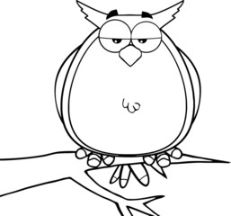 Black And White Owl On Tree Cartoon Character