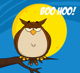 Owl On Tree In The Night With Text