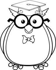 Black And White Wise Owl Teacher With Glasses And Graduate Cap