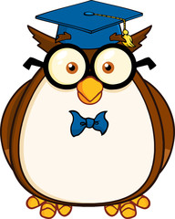 Wise Owl Teacher Cartoon Character With Glasses And Graduate Cap