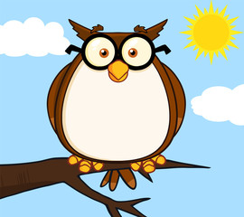Wise Owl On Tree Cartoon Character